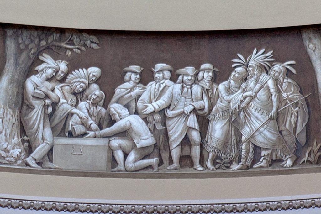 Ein Wandfries William Penn und die Indianer