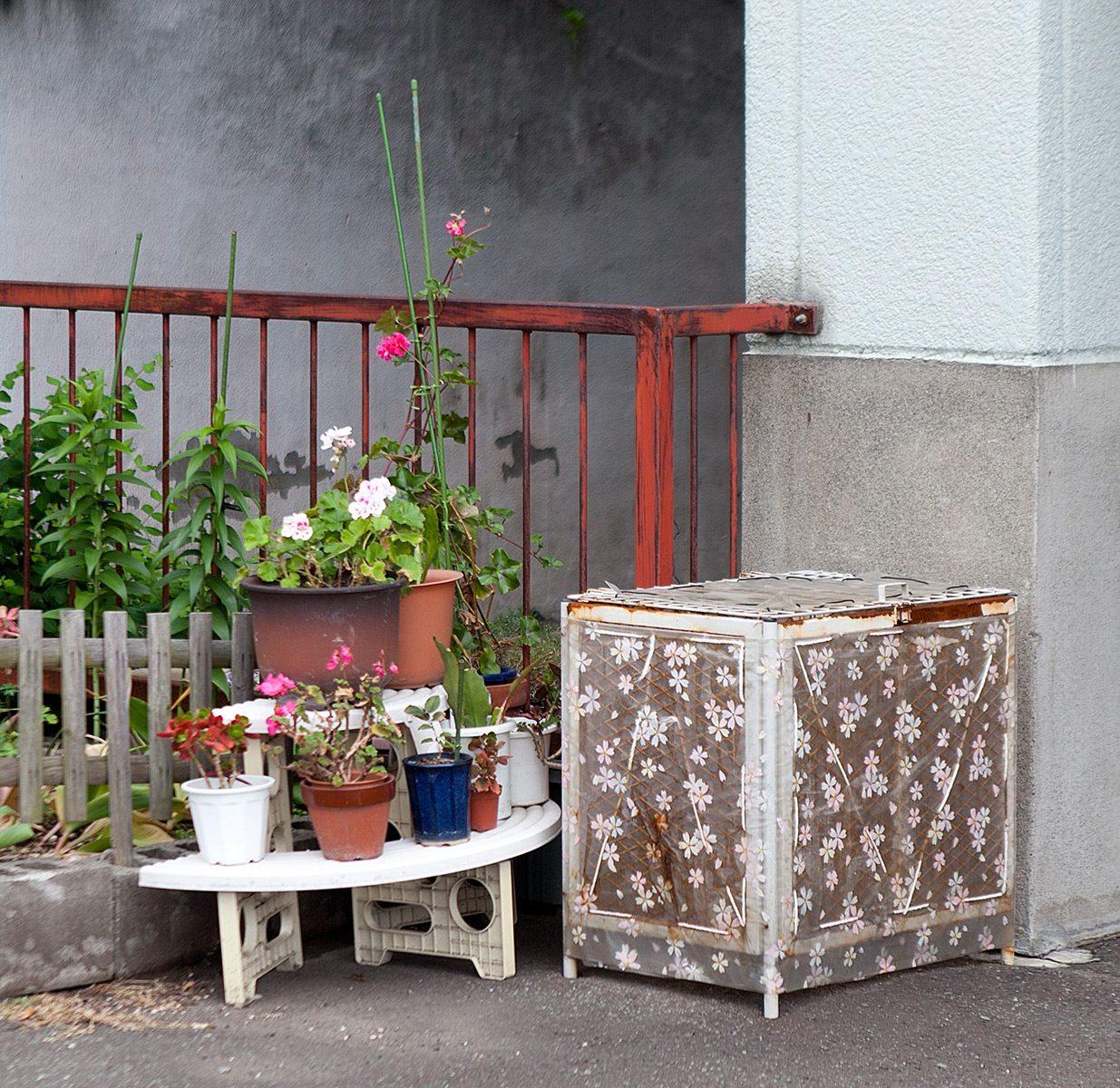 Kleines Tischchen mit Topfblumen und Kiste