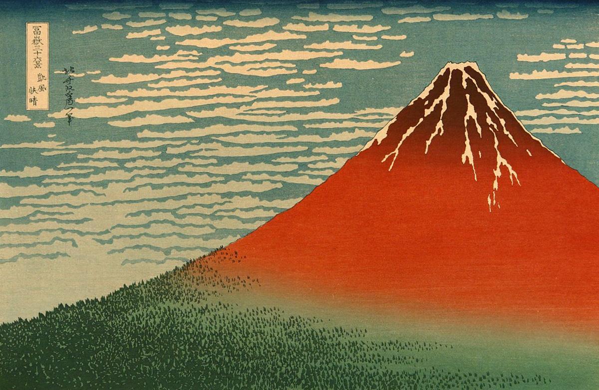 Holzschnitt Roter Fuji