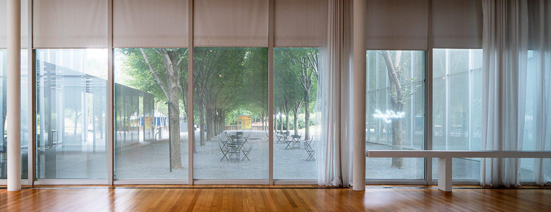 Blick aus dem Fenster im Raleigh Art Museum