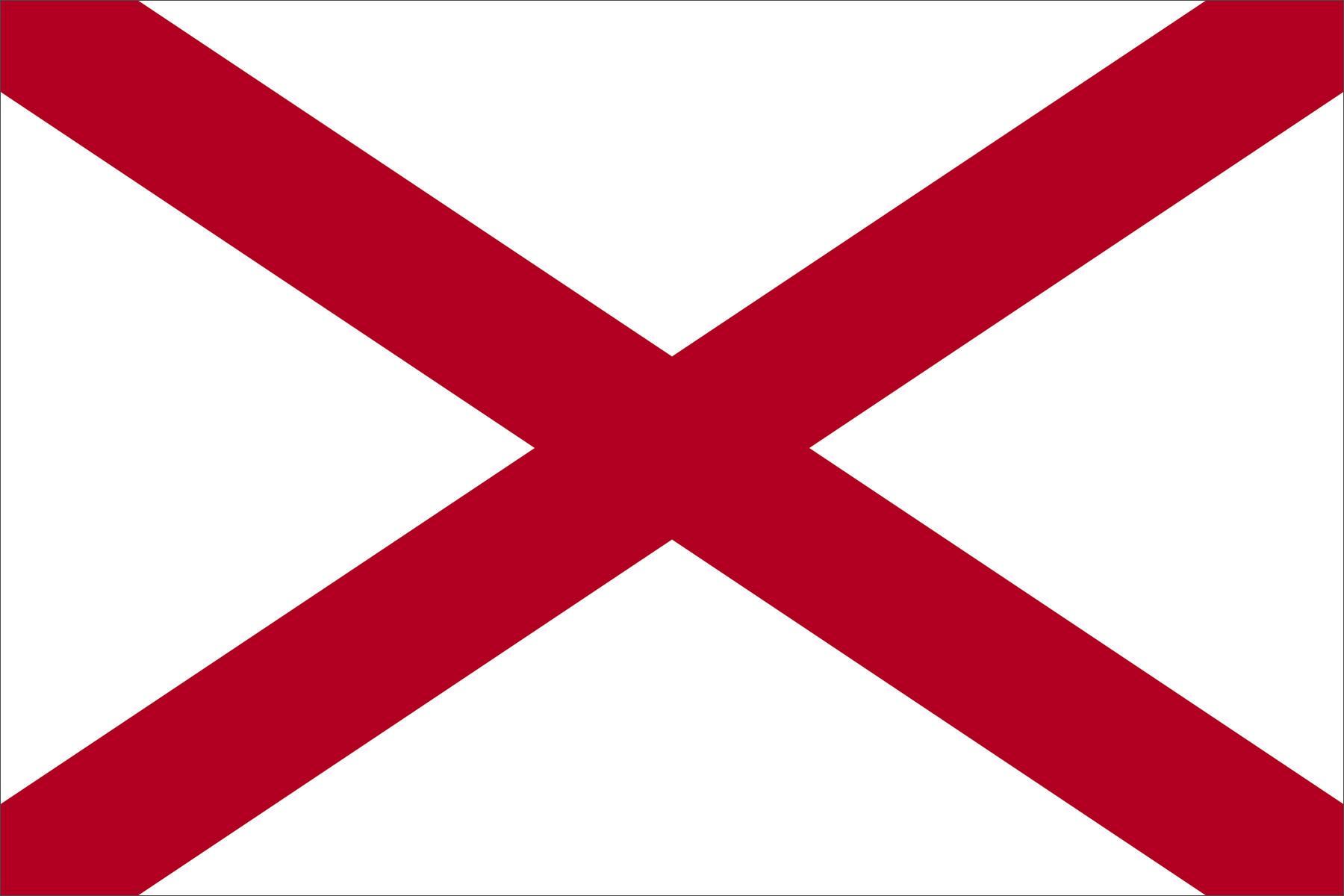 Eine Flagge mit rotem Kreuz auf Weiß