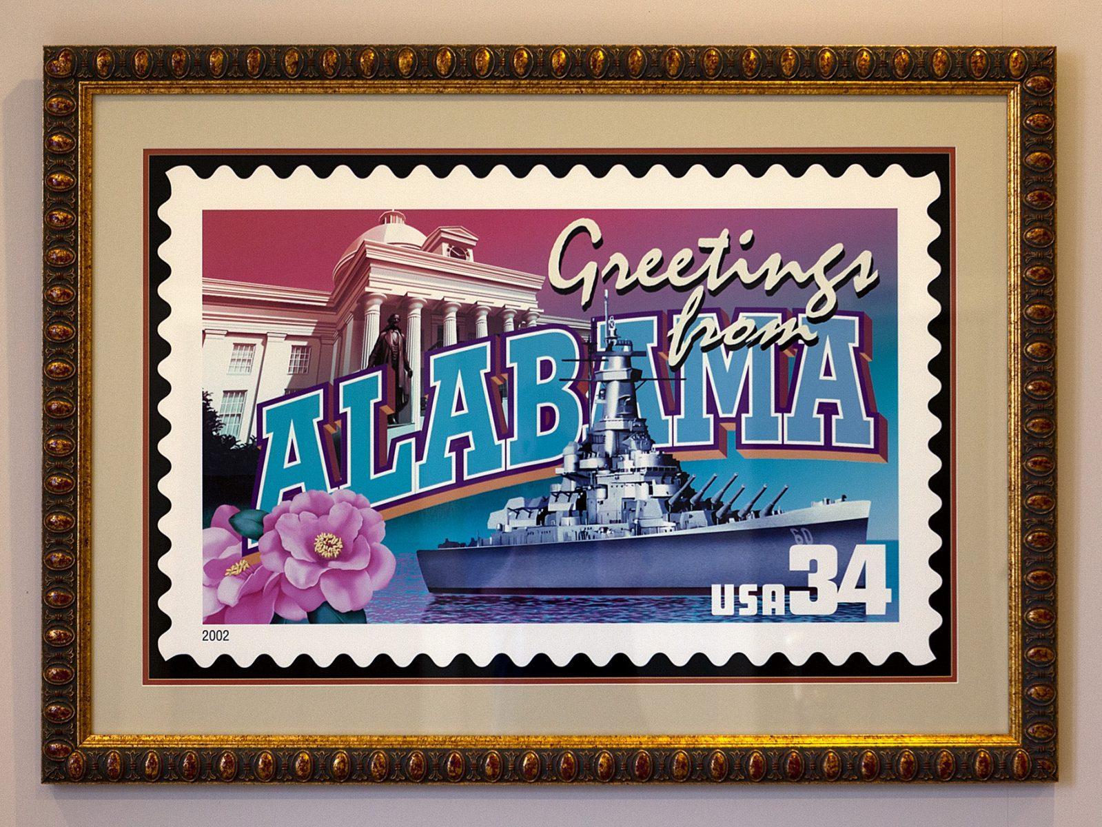 Eine Briefmarke im Rahmen