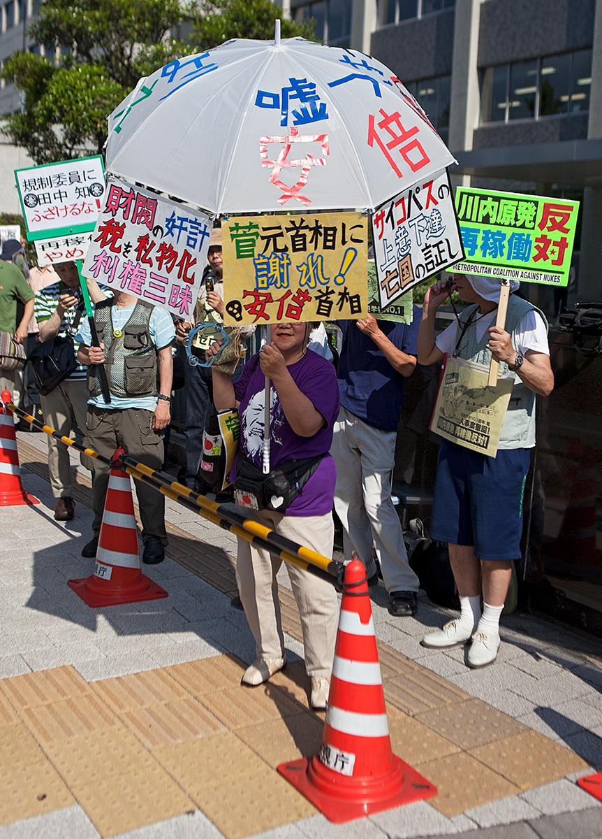 Menschen halten selbstgemachte Schilder im Beitrag Tokio Against Nukes